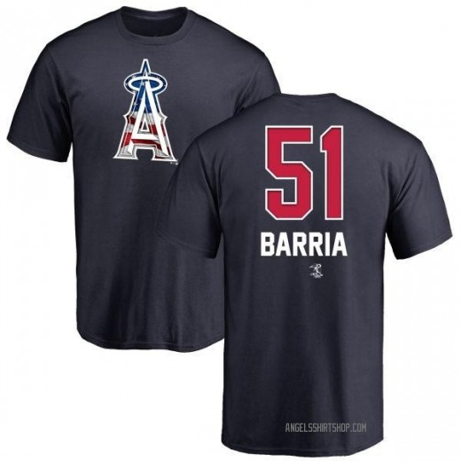 Men's Jaime Barria Los Angeles Angels Name and Number Banner Wave T-Shirt - Navy