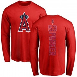 Youth Blake Parker Los Angeles Angels of Anaheim Backer Long Sleeve T-Shirt - Red