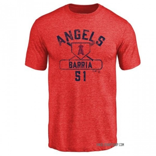 Youth Jaime Barria Los Angeles Angels Base Runner Tri-Blend T-Shirt - Red